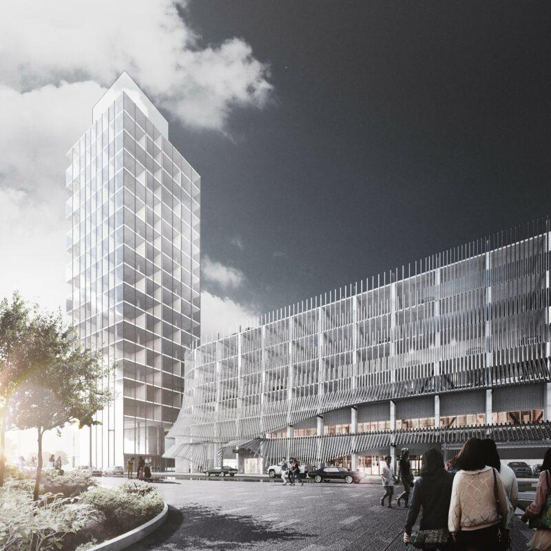 Exterior Rendering of 9th Avenue Parkade & Platform Innovation Centre