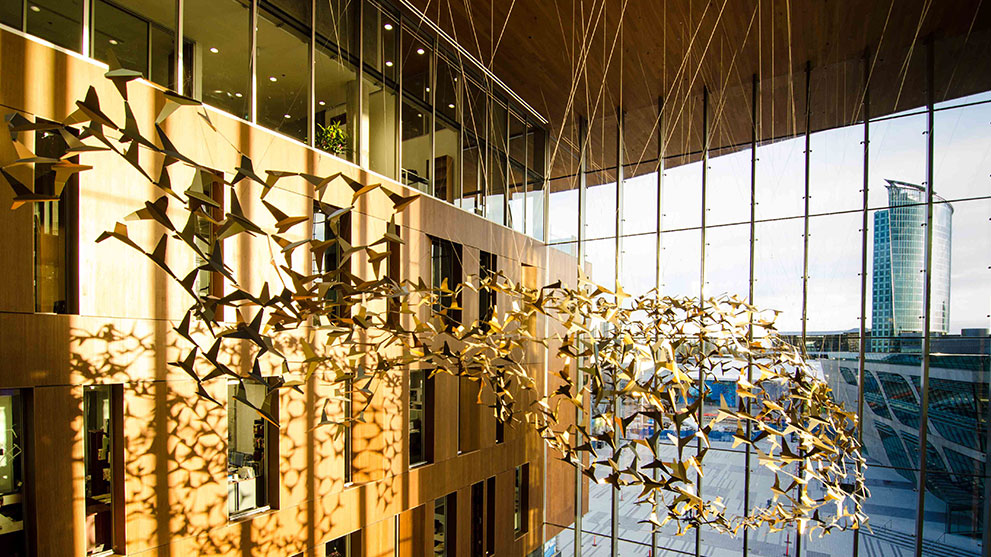 Birds Hanging in an Abstract Design From a Ceiling Public Art Installation